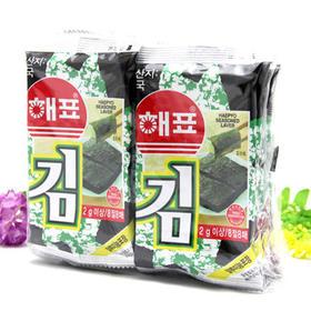 【零食】韩国进口海牌海苔2g 8包海飘即食紫菜休闲零食品