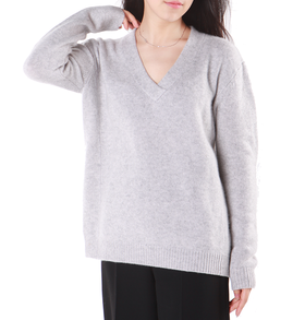 羊绒100% - 复古文艺大V领套头衫 - L009