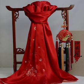 旗袍搭配必备单品 真丝绣花冬季保暖手工苏绣女士围巾