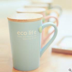 eco life彩色原木盖小树叶挂茶包水杯礼品陶瓷杯哑光咖啡杯早餐杯