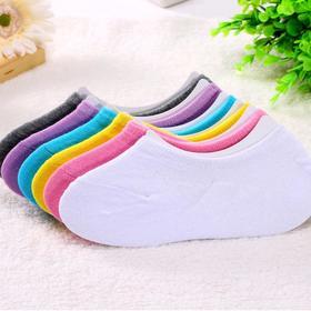 女士船袜五双  全棉隐形袜带硅胶防滑