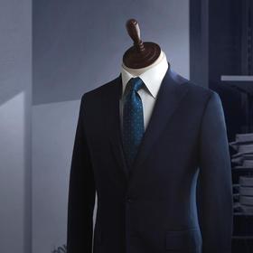 男士百分百羊毛藏青色单排两粒扣平驳领西服套装