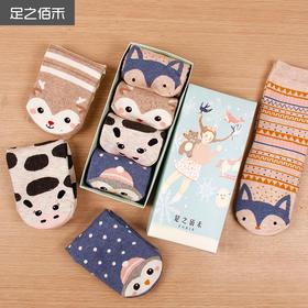 纯棉材质足之佰禾 冬春季纯棉卡通  礼盒装