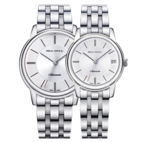 海鸥(SeaGull)手表 商务休闲系列情侣对表自动机械表白盘钢带D816.405+D816.405L