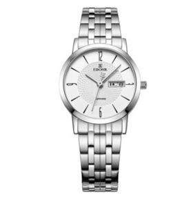 依波(EBOHR)手表 天翼系列白面钢带石英情侣表女表10450529
