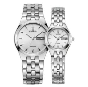 依波(EBOHR)手表 时代元素系列钢带石英情侣表白色5003