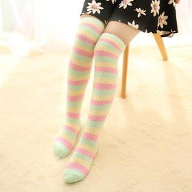 *日系冬季打底袜子毛绒珊瑚绒女过膝袜高筒袜地板袜加厚睡眠袜保暖 | 基础商品