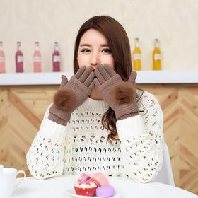 【手套】*秋冬女士毛线手套触屏手套 加绒保暖手套 多功能三用毛球分指手套 | 基础商品