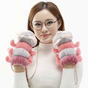 【手套】可爱卡通毛绒全指毛毛虫手套 女冬 保暖挂绳连指棉手套 | 基础商品