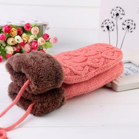 【手套】冬季韩版拼色针织保暖手套 交叉绳麻花辫长款包指手套 | 基础商品
