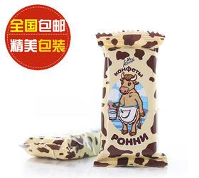 【满39元全国包邮】俄罗斯孔季牌鲁宁奶牛威化500g