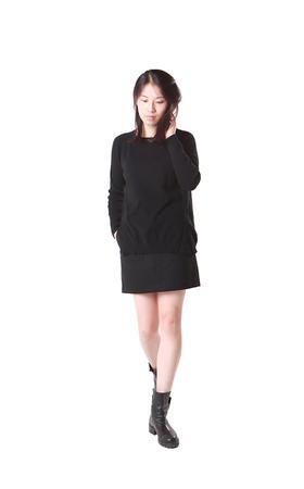 羊绒100% - 女圆领插肩长袖套衫 - L007