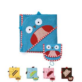 美国Skip Hop可爱动物卡通款儿童连帽浴巾(猫头鹰|小狗|大嘴猴)