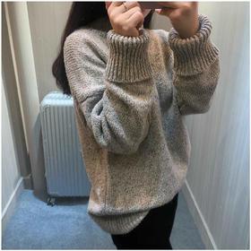 【美货】半高领加厚毛衣女士套头短款外套韩版宽松秋冬打底衫灯笼袖针织衫