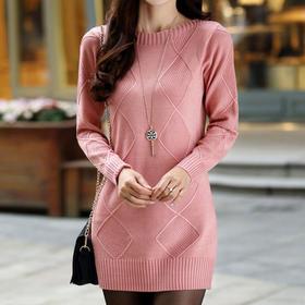 【美货】秋冬新款圆领毛衣女套头厚韩版中长款宽松针织打底衫毛衣
