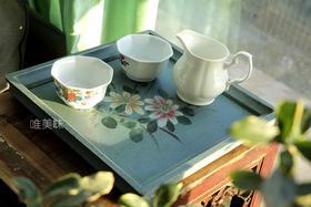 纯木手工做旧 手绘 复古蓝 花卉托盘 早餐 下午茶 轰趴 茶歇