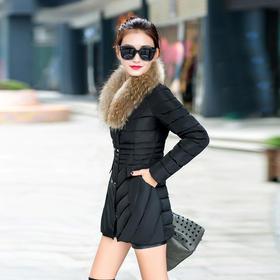 【美货】秋冬新款韩版羽绒棉服中长款 修身棉衣女大毛领轻薄羽绒服潮