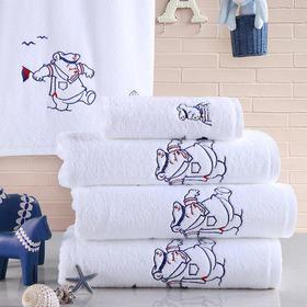 康尔馨五星级度假酒店浴巾儿童纯棉柔软加厚加大全棉浴巾卡通绣花