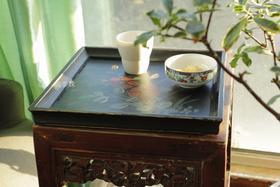 纯木手工做旧 手绘 复古黑 花卉托盘 下午茶 轰趴 茶歇
