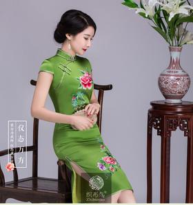 玲珑娇艳高端定制苏绣旗袍,手工刺绣、重磅真丝,高档精品LK