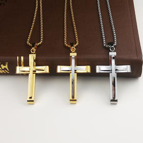 外贸原单项链双层十字架F款