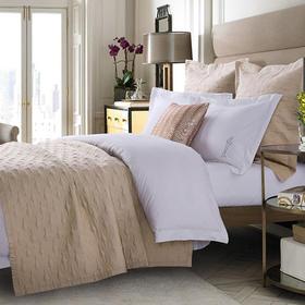 五星级酒店宾馆床上用品纯棉床盖三件套欧式夹棉绗缝3件套