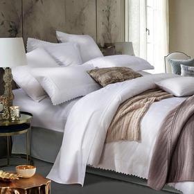 康尔馨五星级酒店床上四件套纯棉1.8m床60支蕾丝刺绣套件双人纯色