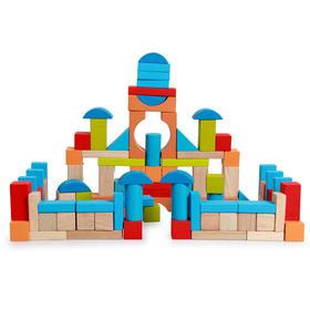【玩具】布袋100粒粉色蓝色实木积木 早教益智玩具男孩积木 儿童益智玩具