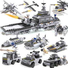 【玩具】cogo积高儿童拼装玩具男孩益智早教拼插积木军事航母模型13007