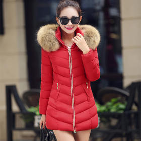 【美货】大毛领羽绒棉服女中长款修身韩版棉衣女外套防寒