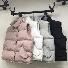【美货】秋冬韩版立领短款棉马甲女羽绒棉衣背心外套加厚面包棉服BF马夹