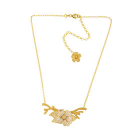 925银镀金 锆钻 珐琅 洋桔梗花朵锆钻项链
