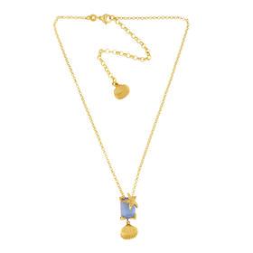 925银镀18K金 锆钻 珐琅 海贝宝石项链