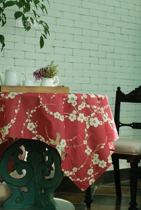 外贸优质精梳纯棉 埃及棉 餐桌布台布装饰布 家宴 轰趴 红梅