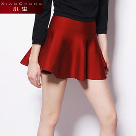 【骆驼子品牌-小虫】新款欧美休闲高腰荷叶边百褶半身裙针织a字裙短裙女XC14Q2015