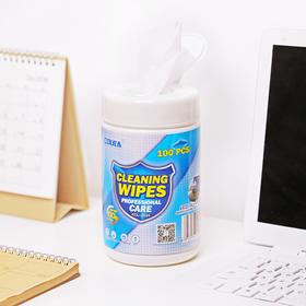 简约清洁湿巾无纺布擦布 100片桶装   文具