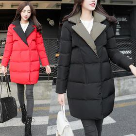 【美货】包邮2016冬季新款撞色西装领韩版棉服休闲宽松中长款茧型保暖棉衣
