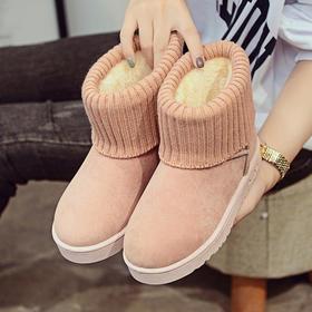 【美货】秋冬款雪地靴女平底短筒靴子加厚加绒保暖棉靴学生靴简约女靴棉鞋