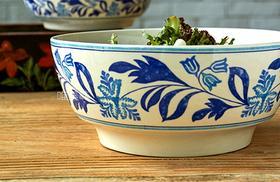 外贸大牌 陶瓷 青花植物花卉 多用简餐 大沙拉碗蔬果碗面碗
