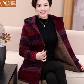 【美货】中老年人女装秋冬装加绒加厚棉衣外套中年妈妈装50岁60棉服70棉袄