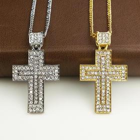 外贸原单 满钻项链 十字架G款