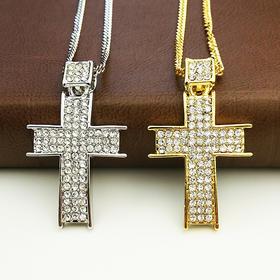 外贸原单 满钻项链 十字架A款