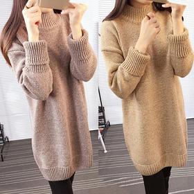 【美货】秋冬季韩版毛衣女士中长款套头加厚宽松潮打底针织衫学生百搭外套