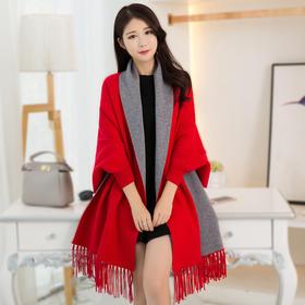 【美货】可穿披肩围巾两用女春秋冬季仿羊绒加厚袖子斗篷披风外套