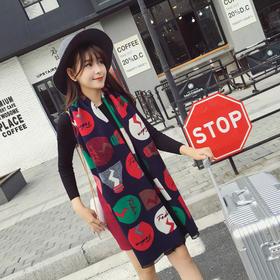 【美货】秋冬韩版彩色灯泡仿羊绒围巾披肩 两用加长保暖围脖名绣