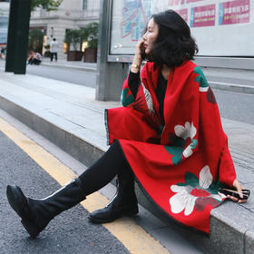 【美货】围巾披肩女春秋冬季加厚超大两用仿羊绒围巾长款学生保暖披肩外套