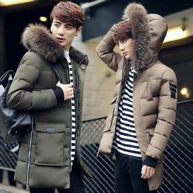 【羽绒服】*男士中长款羽绒服青少年韩版修身貉子毛白鸭绒男装外套 | 基础商品