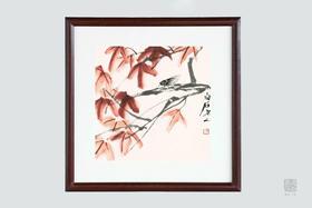 包邮  花鸟鱼虫的闲情雅趣:齐白石 木框画组 精美书房装饰画