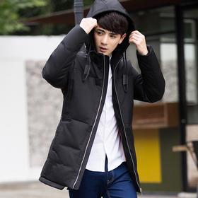 【羽绒服男】冬季休闲男士羽绒服中长款加厚保暖修身青年韩版连帽外套潮流学生 | 基础商品