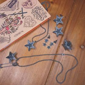 来自星星的你 做旧仿银 星星项链/戒指/耳钉耳环